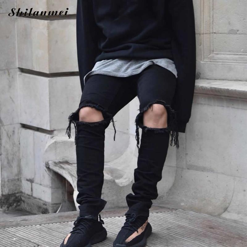 2017 Zipper Black Ripped Jeans Men With Holes Denim Super Skinny Famous Designer Brand Slim Fit Jean Pants Scratched Biker JeansÎäåæäà è àêñåññóàðû<br><br>