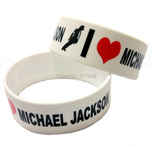300pcs one inch Michael Jackson wristband silicone bracelets free shipping by FEDEX(China)