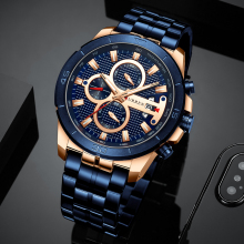 CURREN Quartz Watches Chronograph Stainless-Steel Army Military Luxury Brand Relogio Masculino