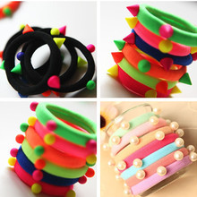 10 Pcs/Lot wholesale New fashion Rivets Colorful Balls Head Elastic Bands Hair Ties Women Black Hair Accessories(China)