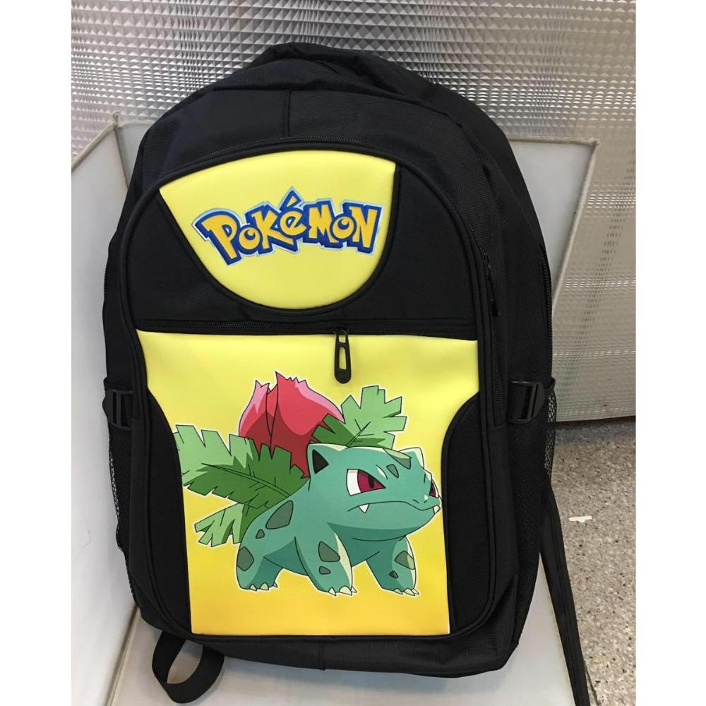 Anime Pikachu Ivysaur Fushigisou Laptop Black Backpack/Double-Shoulder/School/Travel Bag for Teenagers or Animation Enthusiasts<br>