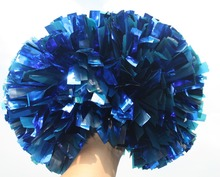Free Fast Shipping 18Pieces Cheerleader Pom Pom Adult Kids Metallic Blue and Plastic Blue Custom Color