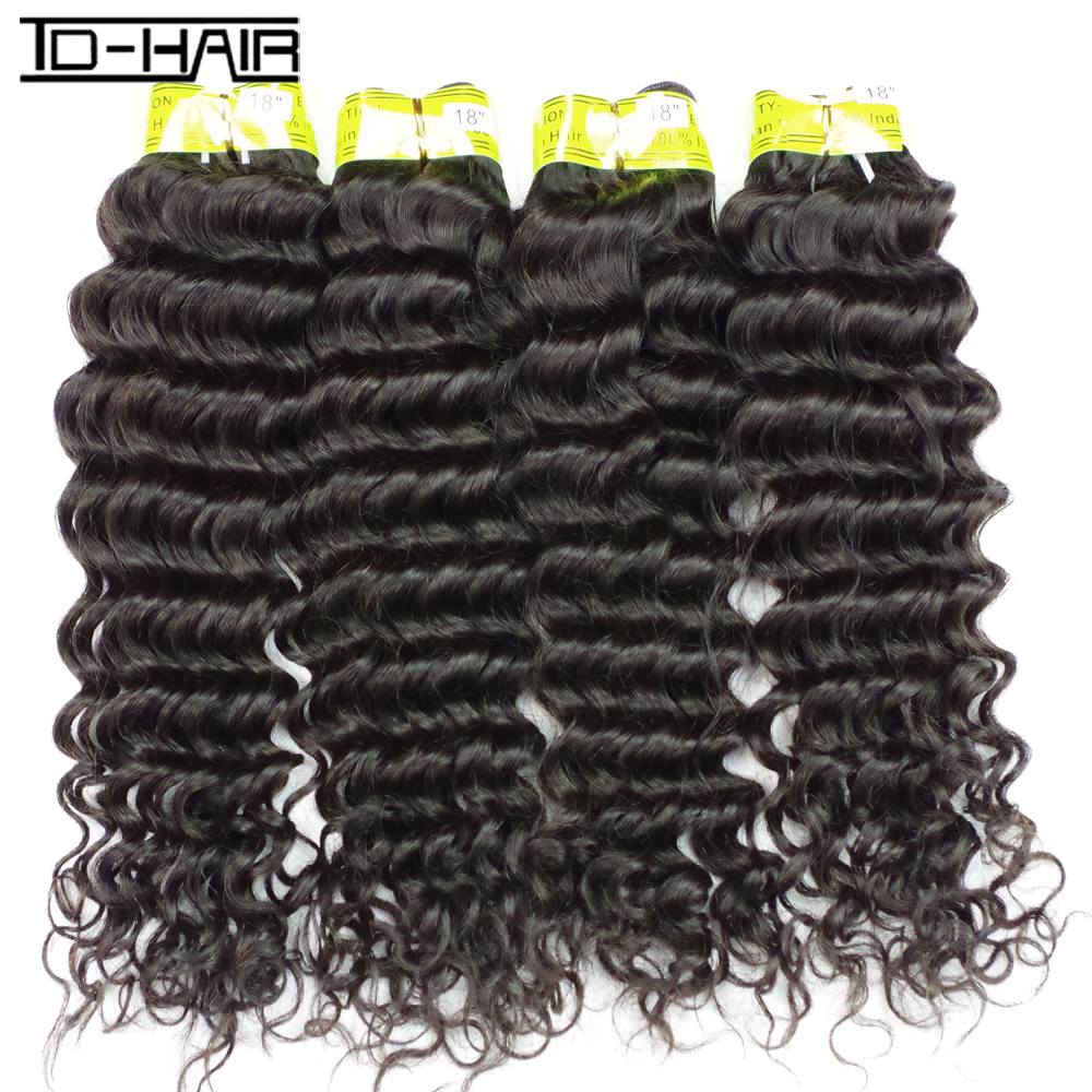 7A TD HAIR Products Indian Virgin Hair Deep Wave Remy Curly Hair Bundles 4pcs No Shedding Unprocessed Human Hair Extension<br><br>Aliexpress