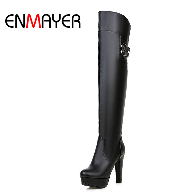 ENMAYER New Fashion Woman Boots Round Toe Platform Buckle Shoes Women Zippers Over-the-Knee Boots for Ladies Woman Shoes Black<br>