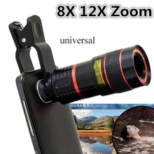 Universal Clip 8X 12X Zoom Mobile Phone Telescope Lens Telephoto External Smartphone Camera Lens For iPhone Sumsung HTC LG PC(China)