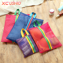 4pcs/set Travel Mesh Storage Bag Organizer Breathable Toiletry Bag Clothes Underwear Hanging Storage Bag Cosmetic Case(China)