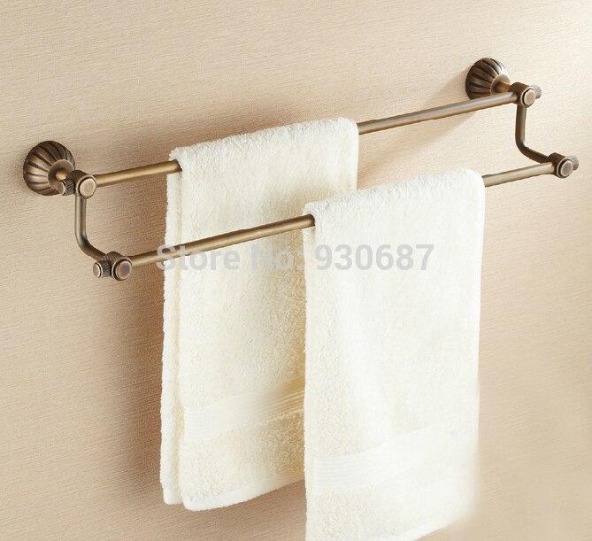Brand New Antique Brass Bath Dual Towel Bars Wall Mount Towel Hangers<br><br>Aliexpress