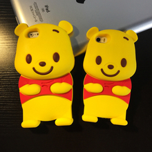 3D Winnie pooh Animal Silicone Cell Phone Protector Cover Shell Case for iPhone 7 4 5 5s SE 6 6S PLUS touch5 S3 S4 S5 NOTE 2 /4