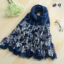 women embroidery floral scarf soft shawl warm winter scarves shawls fashion pashmina wraps muslim hijabs foulard hot sale(China)