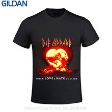 GILDAN Short Sleeves Cotton T-shirt Def Leppard When Love And Hate Collide Men T Shirts Round Neck Music