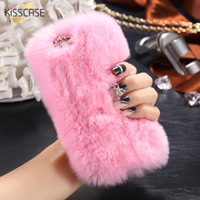 KISSCASE For iPhone 7 Cute Furry Cover Fashion Rabbit Hair Crystal Diamond Case For iPhone 6 6S Plus Slim Fluffy Phone Cases Bag