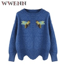 WWENN  2017 Fall Autumn Loose Crocheted Blue Bee Embroidery Sweater Coat Women's O-Neck Long Sleeve Pullovers Casual Sweater