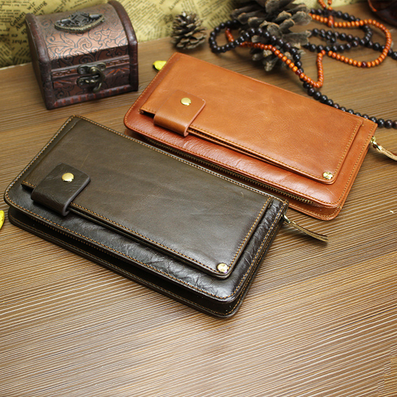 Genuine Cowhide Leather Big Capacity Mens Fashion Vintage Pouch Money Credit ID Card Wallet Purse Handbag For Man Male LD9019<br>