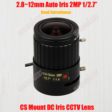 "2MP 1/2.7"" 2.8-12mm Manual Varifocal DC Auto Iris Road Surveillance CCTV IR Lens CS Mount for 1080P 2Megapixel Analog IP Camera"