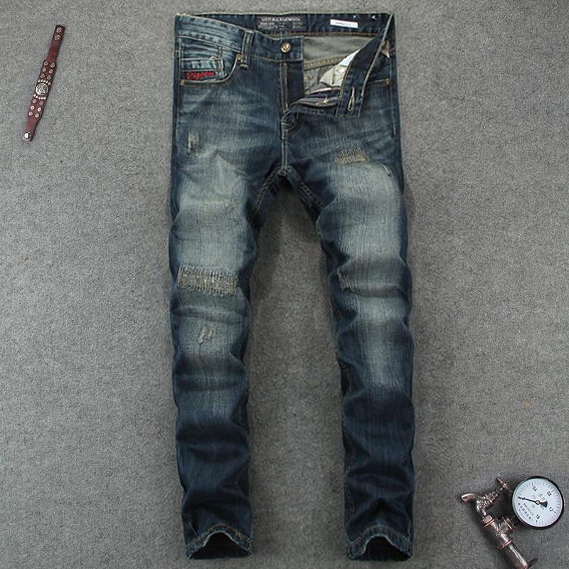 Mid Stripe Mens Dark Jeans Ripped Slim Fit Denim Pants Male Quality Designer Brand Clothing Moto Jeans Patchwork Men RL607Îäåæäà è àêñåññóàðû<br><br>