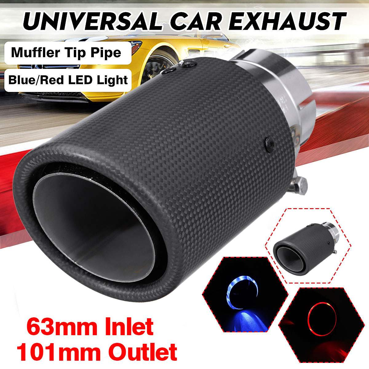 US Shipping 63MM Car Glossy Carbon Fiber Exhaust Pipe End Tip Muffler Universal