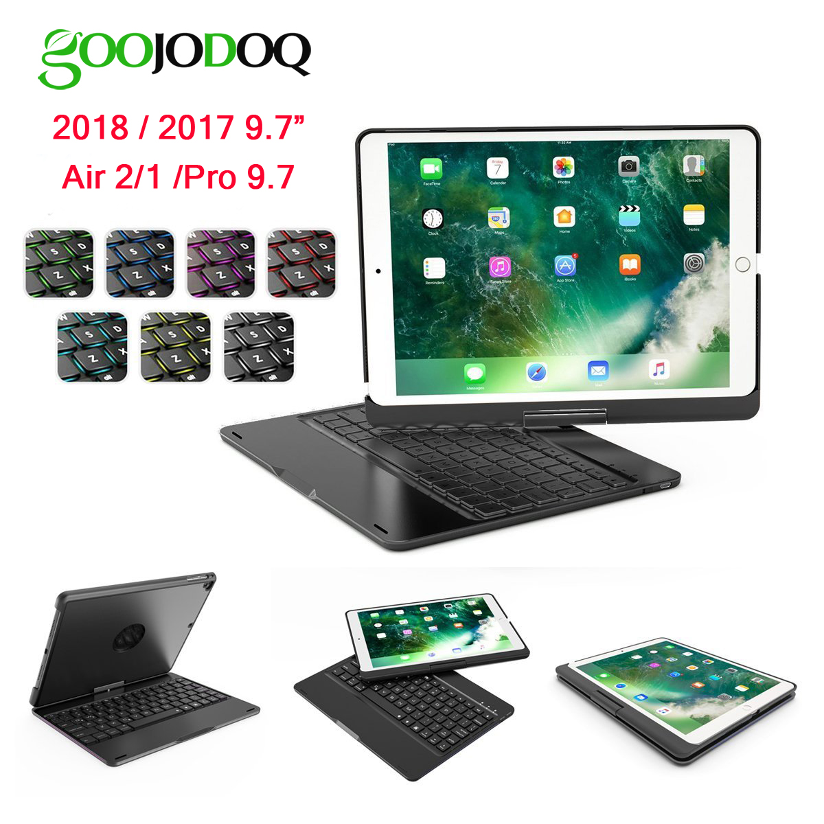 GOOJODOQ Backlit Wireless Bluetooth Keyboard Case for iPad 2018 9.7 2017 Pro 9.7 for iPad Air 2 / Air 1 Case Smart Folio Cover