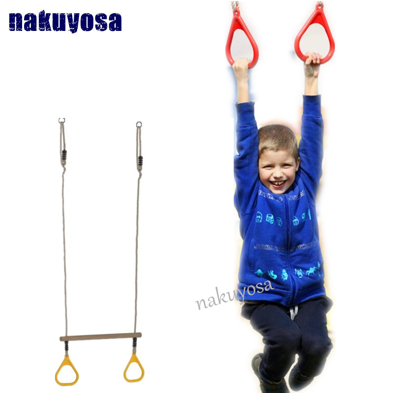 Jungle Gym Playground Equipment for Kids EVAS Trapeze Swing bar with Rings Swing Set Accessories Indoor//Outdoor