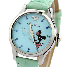 Disney Minnie mouse watches leather quartz clocks girls diamond casual waterproof original wristwatch NO.51051