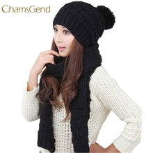 Chamsgend Women Winter Warm Scarf Beanie Set Knitted Crochet Thick Long Scarves Head Ear Wraps Hat Kit 170717