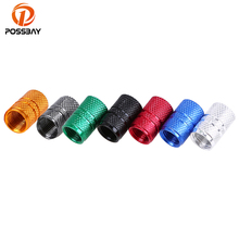 POSSBAY 4Pcs/Lot Universal Aluminum Car Tyre Air Valve Caps Bicycle Tire Valve Cap Car Wheel Cover Styling Round 8 Colors(China)