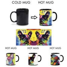 Cute Dog Magic Mug Heat Sensitive Color Changing Coffee Mugs 350ml 11 oz Ceramic Hot Cold Colour Change Milk Tea Mug For Gift