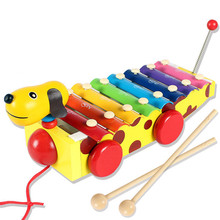 Wooden Hand Knock Piano Xylophone Musical Wood Toy Baby Drawable Piano Car Educational Infant Playing Gift Toys for Children