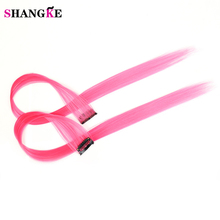 SHANGKE Pink Hair High Temperature Synthetic Fiber Long Straight Punk Style Clip-on Hair Extensions Hair Clip(China)