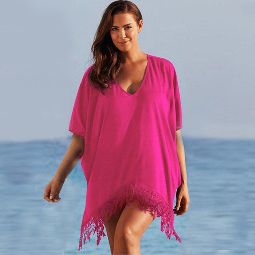 Plus Size 3xl Mini See Through Chiffon Dress For Women Sexy Tassel Crochet Tunic Beach Dress Beach Wear 12