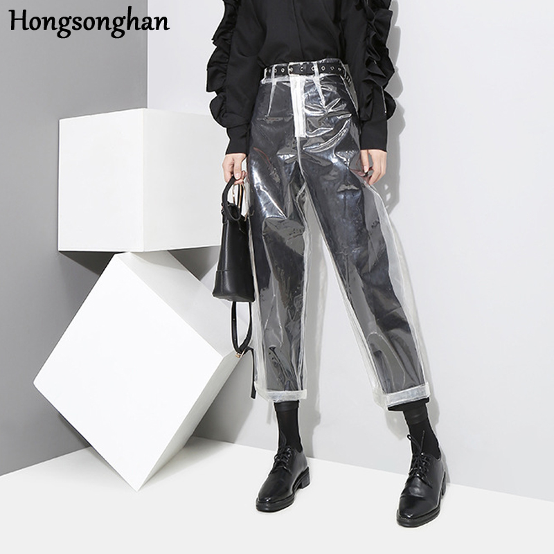 Hongsonghan New casual moto style trousers for women in autumn and winter high waist loose fashionable transparent pencil pants