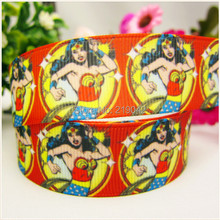 free shipping 22mm Wonder Woman printed grosgrain ribbon,Clothing accessories accessories, wedding gift wrap ribbon, MD51442