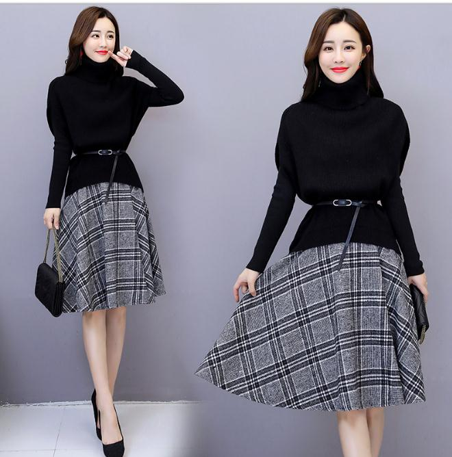 Autumn And Winter 2 Piece Set Women Knitted Women's Sweater Top And Skirt Plaid Turtleneck Ensemble Femme Deux Pieces