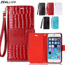 ZEALLION For iPhone 5 5S SE 5C 6 6S 7 Plus Case High Quality Crocodile Grain Design Magnetic Holster Flip PU Leather Cover