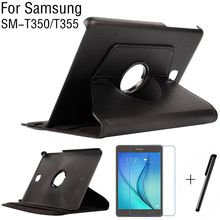 "360 Degree Rotating Stand Smart PU Leather Cover Case Samsung Galaxy Tab 8.0"" T350 T355 Tablet Case+Screen Protector+Pen"