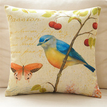 wholesale wedding gift American hand-painted flowers birds garden butterfly shrub decorative cushion cover car sofa pillow case(China)