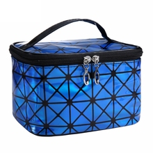 cosmetic bag fashion diamond lattice make up bag women PU travel organizer professional cosmetic cases suitcase for makeup pouch