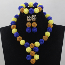 Mix Royal Blue Yellow Plastic Balls Choker Necklaces Set Women Nigerian Wedding African Beads Jewlery Set Free Shipping WD580(China)