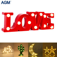 Flamingo LOVE Star 3D Night Light LED Standing Lamp Cactus Marquee Letter Lights Luminaria Children Toys Home Wedding Decoration(China)