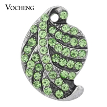 20PCS/Lot Wholesale Vocheng Interchangeable Jewelry 3 Colors Vintage Leaf Snap Charm 18mm Rhinestone Vn-1273*20(China)