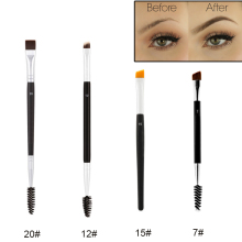 Professional Dual Sided Duo Brow Brush 12# 15# 7# 20# Eyebrow Enhancer Angled Eyebrow Brush + Comb Beauty Makeup Tool 1PCS(China)