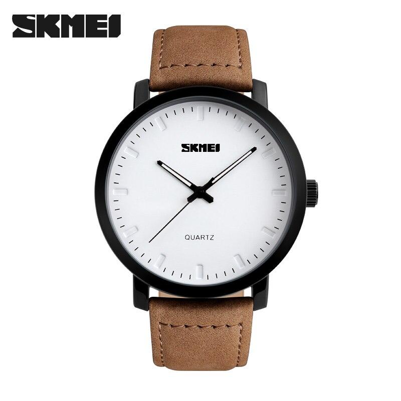2017 SKMEI Brand Casual Mens Watches Leather Waterproof Simple Joker Fashion Quartz Watch Men Sport Military Army Wristwatch<br><br>Aliexpress