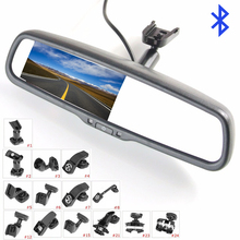 "KOENBANG Replacement 4.3"" TFT LCD Car Rear View Mirror Monitor Bluetooth Car Kit Parking Assistance With 2 RCA Video Input"