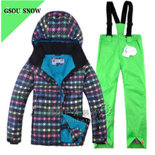 Waterproof Good Quality Children Ski Suit Outdoor Play Winter Clothing Set Ski Jacket + Pant for Kids Snowboarding Set on Sales