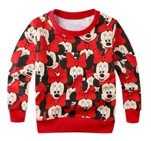 Retail 2017 fashion cartoon Mickey Minnie boys girls clothes long sleeve kids t shirt children tops tees hello kitty sweater(China)