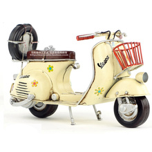 Vespa mini metal motorcycle model yellow flower Italy vintage motorcycle toy hot wheel Diecast metal model motorcycle toy(China)