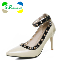 S.Romance Plus Size 31-43 Women Pumps New Fashion Sexy Elegant Pointed Toe High Heel Lady Woman Shoes Blue Green White SH568
