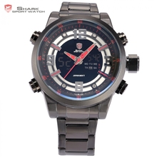 Basking Shark Sport Watch Brand Dual Time Zone Date Alarm Stop Stainless Full Steel Black Red Military Men Quartz Watches /SH340