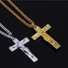 Wonlife Creative Male Necklace Men Jewelry Birthday Gifts Wholesale, Antique Gold&silver Color Cross Jesus Pendant Necklace