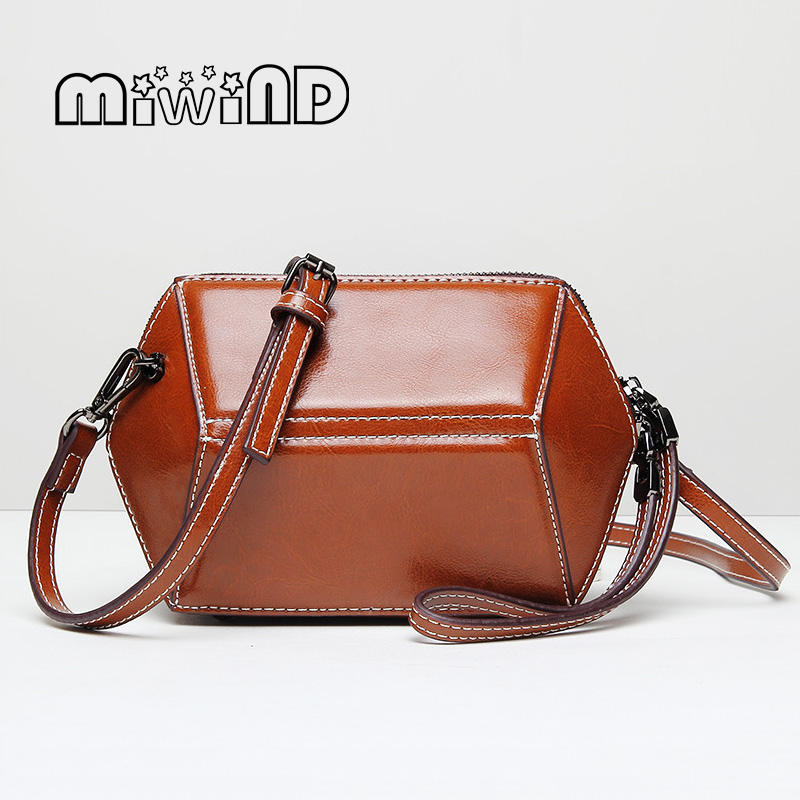 MIWIND Genuine Leather Women Messenger Bag Diamond Shaped Package 2017 Spring and Summer New Fashion Wrist Shoulder Bags Mini<br>