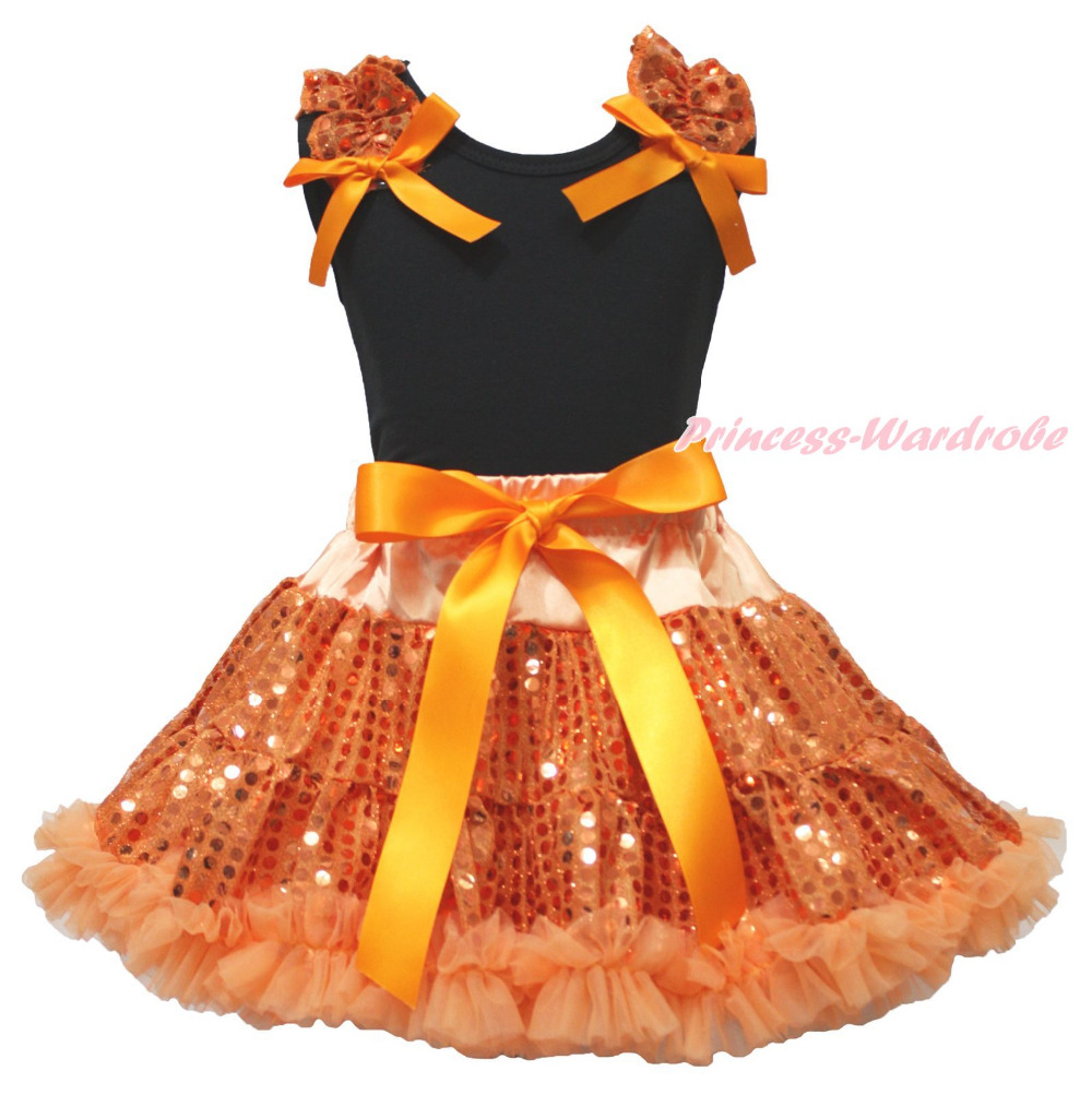 Halloween Black Top Orange Bling Sequins Girls Skirt Clothing Outfit Set 1-8Year<br>